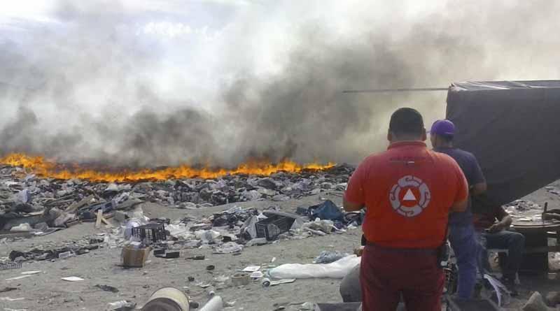 Arde nuevamente relleno sanitario de Palo Escopeta
