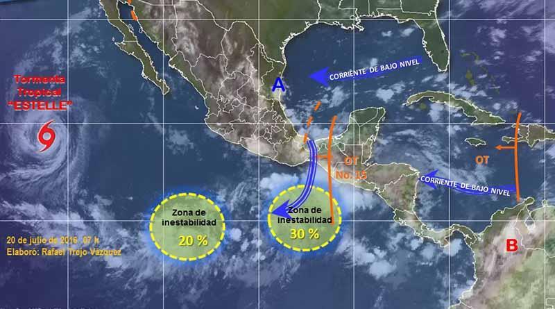 SMN vigila dos zonas de inestabilidad en el Pacífico