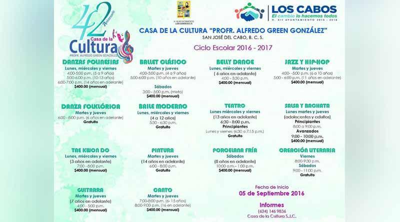 """Casa de la Cultura """"Profr. Alfredo Green González"""" iniciará clases con 14 talleres"""