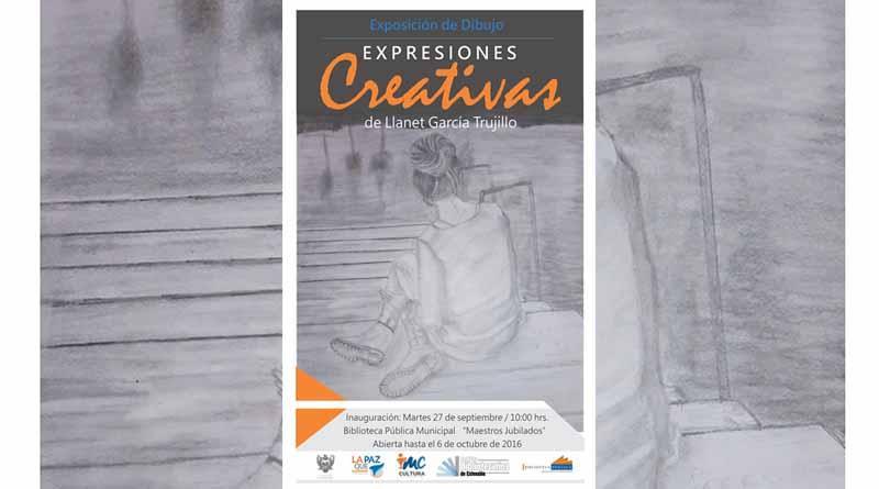"""Invitan a la exposición de dibujo  """"Expresiones Creativas"""" de Llanet García Trujillo"""