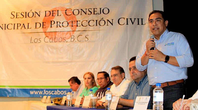 Encabeza Gobernador del Estado Sesión del Consejo Municipal de Protección Civil en Los Cabos