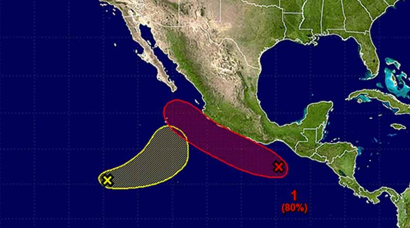 Zona de inestabilidad con 80% de desarrollo ciclónico en el Pacífico