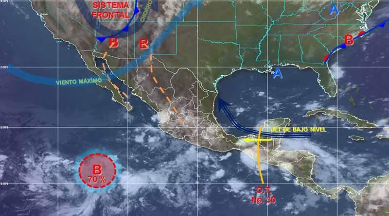 Baja presión al sur de Cabo San Lucas presenta trayectoria errática
