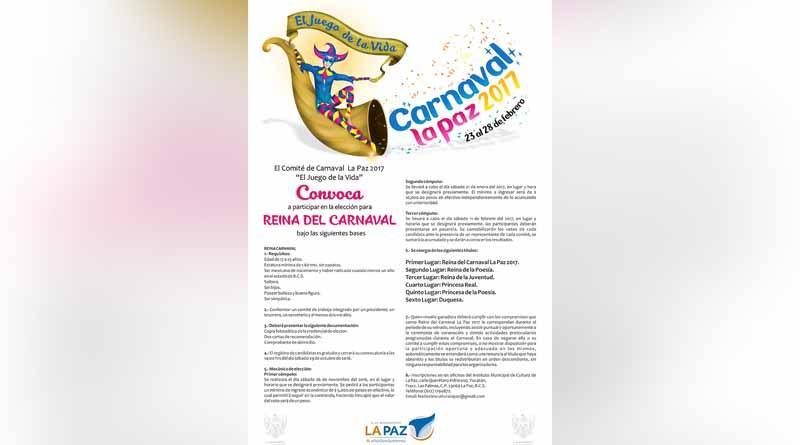 Invitan a participar en la convocatoria Reina del Carnaval La Paz 2017