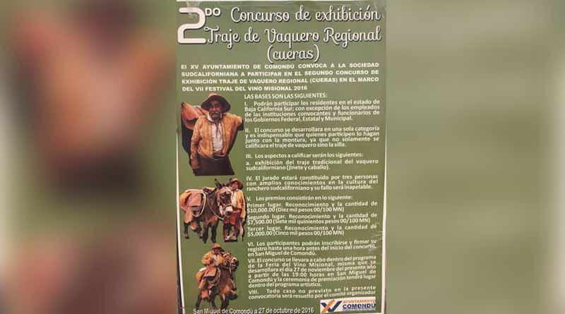 Invitan a los sudcalifornianos a participar en el 2do. Concurso de Exhibición de Traje Vaquero Regional