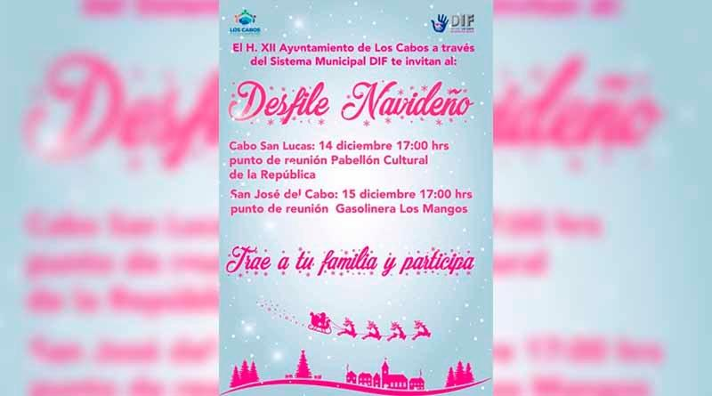 Invita DIF Los Cabos a disfrutar de los desfiles navideños el 14 y 15 de diciembre