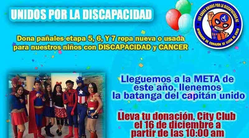 Unidos por la Discapacidad te espera con donación de pañales y ropa al lado de City Club CSL