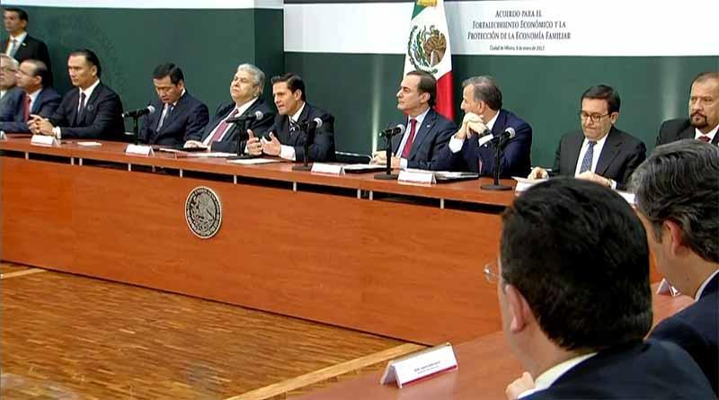 Firman Gobierno Federal, sindicatos y empresarios acuerdo para mantener estabilidad económica de México