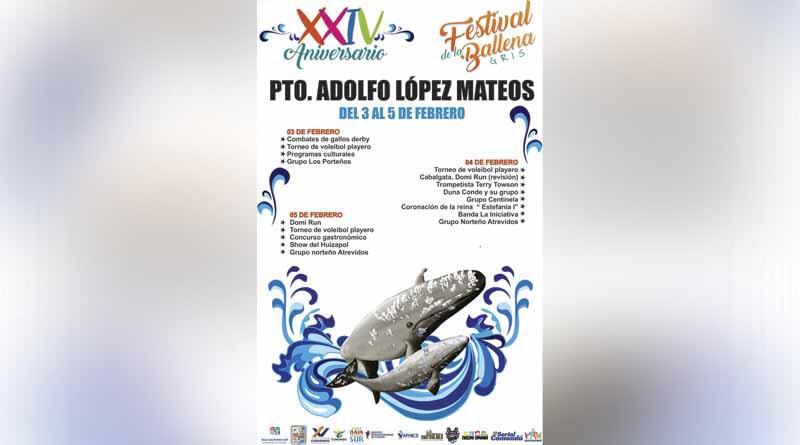 Se llevará a Cabo la XXIV Edición del festival de la ballena gris, en el puerto Adolfo López Mateos del 3 Al 5 de Febrero