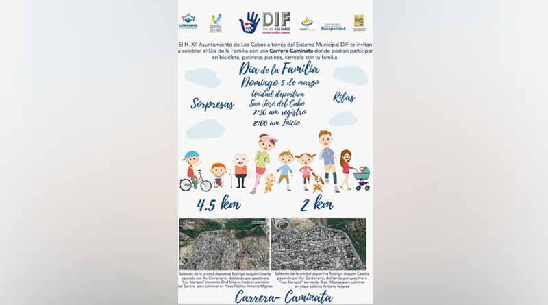Sistema DIF los cabos invita a celebrar el día de la familia con una carrera-caminata
