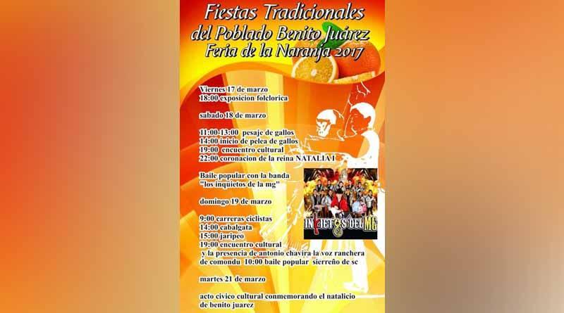 Fiestas Tradicionales de la Naranja en Benito Juárez del 17 al 21 de Marzo