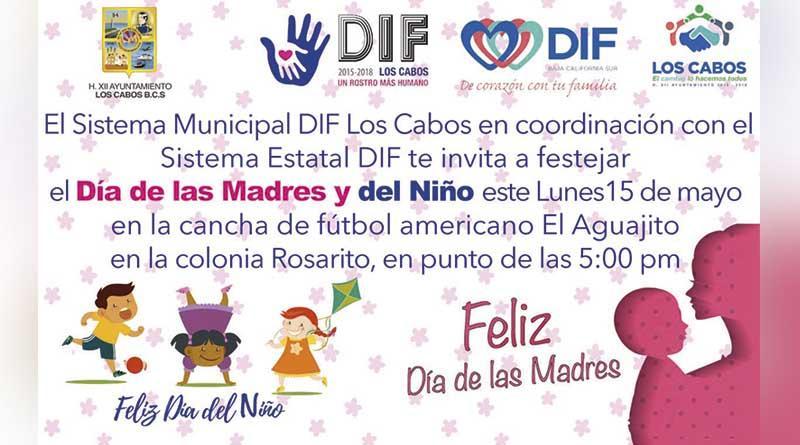 Invita DIF estatal y municipal al festejo del día de las madres y del niño hoy en San José Del Cabo