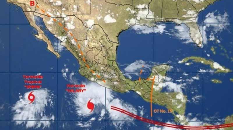 Huracán Hilary aumenta gradualmente su fuerza y se desplaza al oeste-noroeste