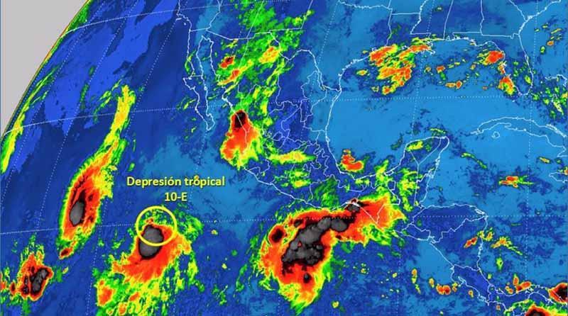 Se forma la depresión tropical 10-E en el Océano Pacífico