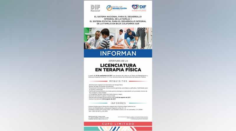 DIF Nacional y SEDIF BCS lazan convocatoria por apertura de licenciatura en Terapia Física