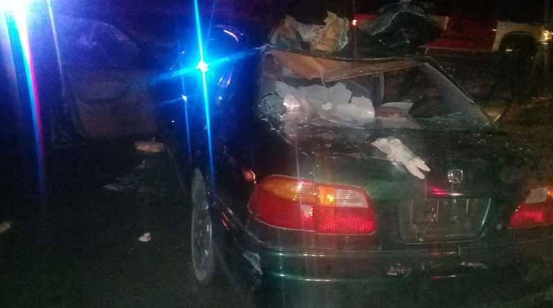 Un muerto y dos heridos por choque contra vaca y volcadura en La Paz
