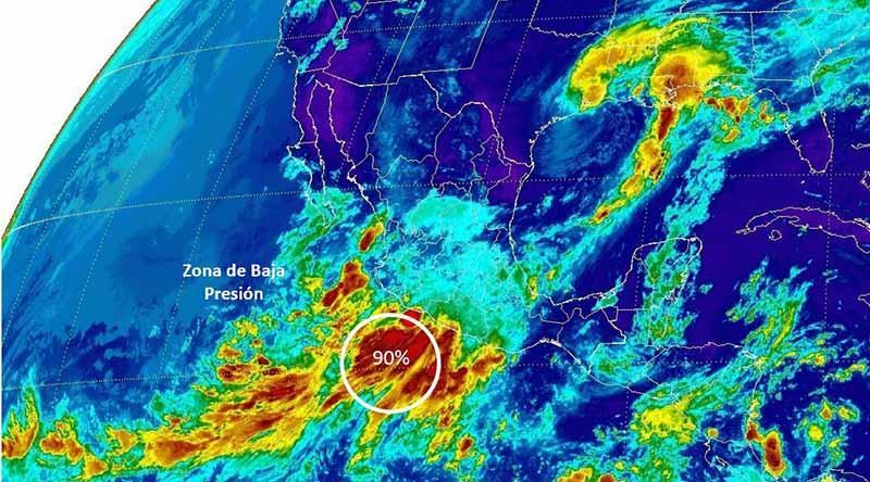 Alcanza zona de baja presión en el Pacífico 90% de potencial de desarrollo ciclónico