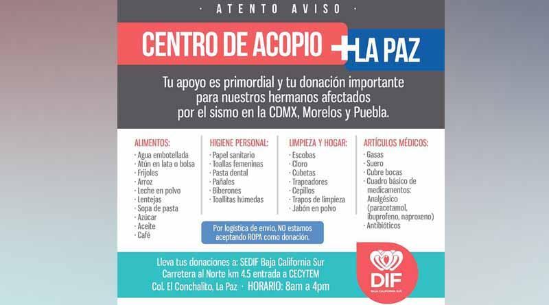 Instala SEDIF BCS centro de acopio para familias afectadas por sismo en CDMX, Morelos y Puebla