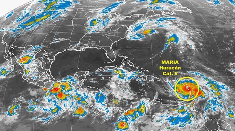 Huracán María recupera categoría cinco y se enfila a Puerto Rico