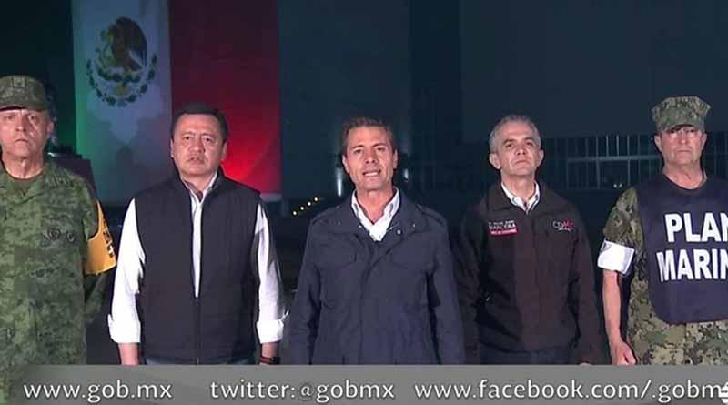 Peña Nieto pide a población enfrentar unidos desafío por sismo