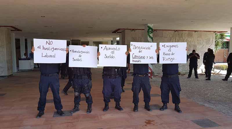 Policías Estatales se manifiestan en Palacio de Gobierno, exigen mejoras laborales y cambio de mandos