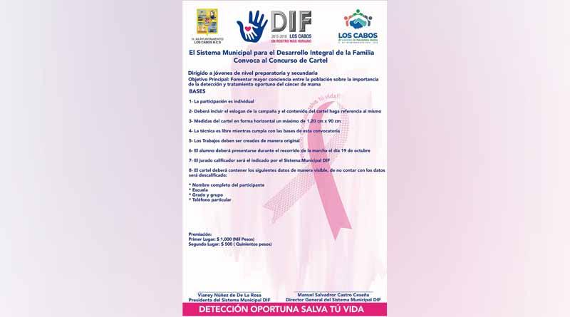 Invita DIF Los Cabos a concurso de cartel alusivo al Cáncer de Mama