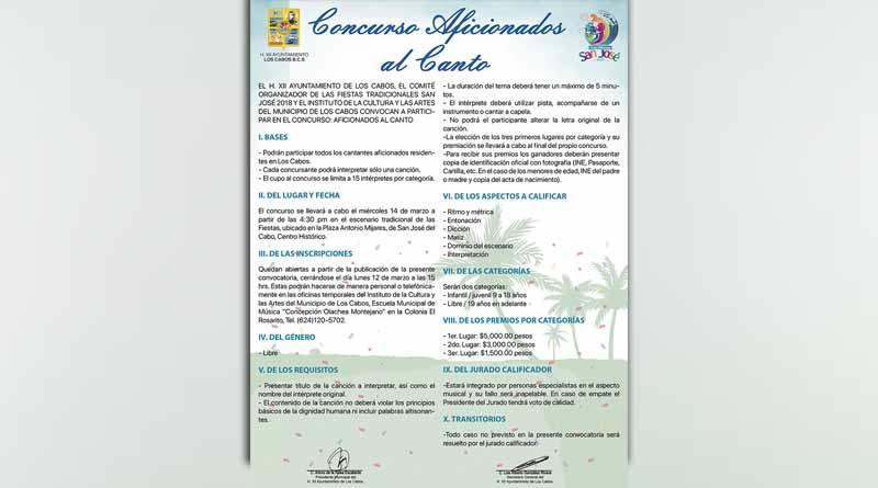 """Gobierno de Los Cabos invita a participar en el concurso """"Aficionados al Canto 2018"""""""