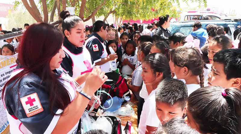 Inicia Feria de Protección Civil y seguridad en la escuela héroes del 47 en CSL