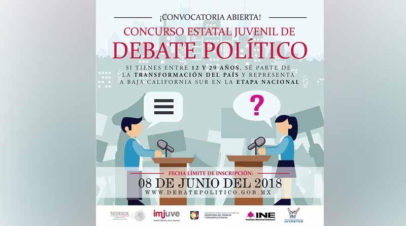 Convocan a participar en Concurso Estatal Juvenil de Debate Político