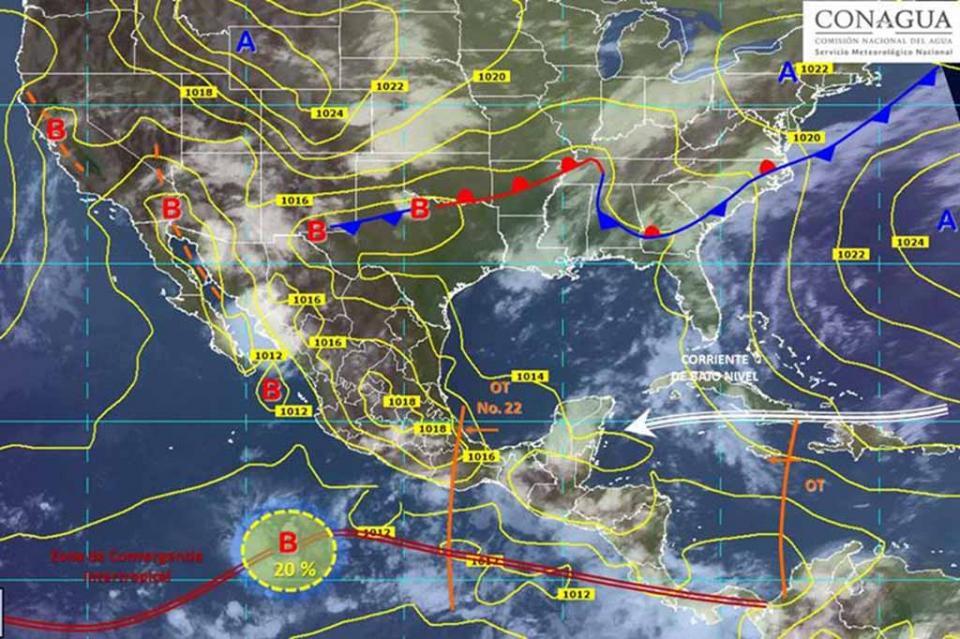 Zona de baja presión se localiza en el Pacífico, con 40% de desarrollo ciclónico
