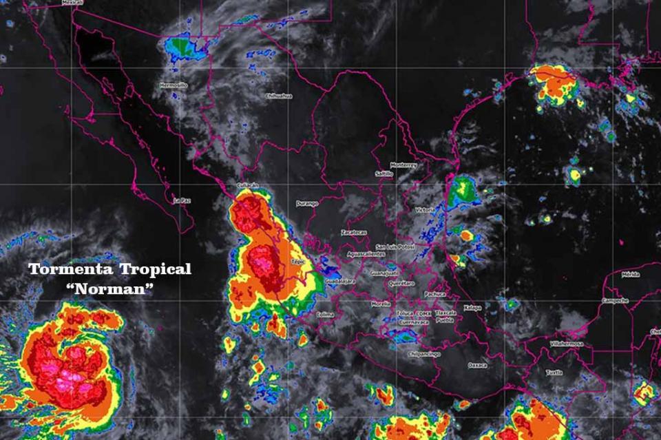 Tormenta tropical Norman se ubica al suroeste de Península de Baja California