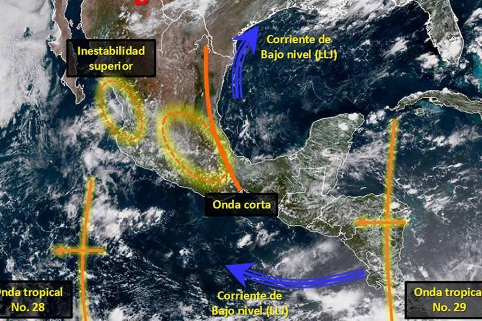 Efectos de la onda tropical 29 se sentirán en el sureste y sur del país