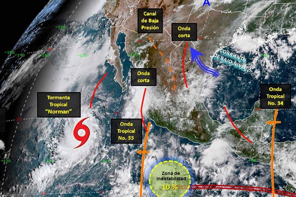 Zona de inestabilidad en el Pacífico, con 20 por ciento de potencial ciclónico