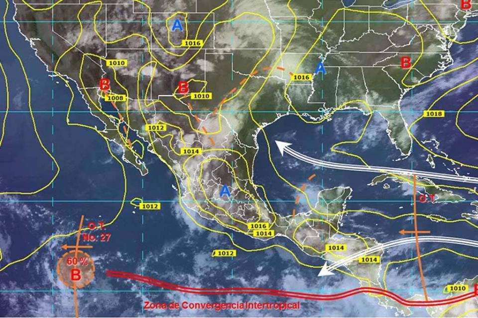 Zona de baja presión, con 60% de potencial para desarrollo ciclónico
