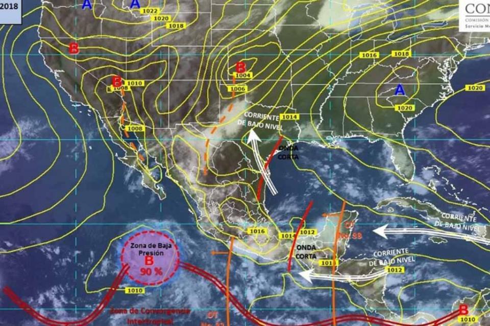 Observan zona de baja presión en el Pacífico