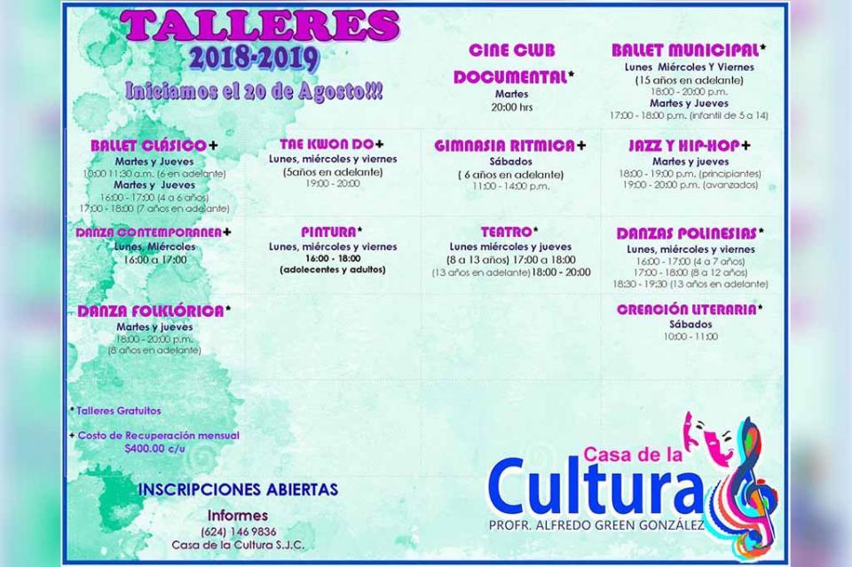 Se imparten 11 Talleres en la Casa de la Cultura Profr. Alfredo Green González