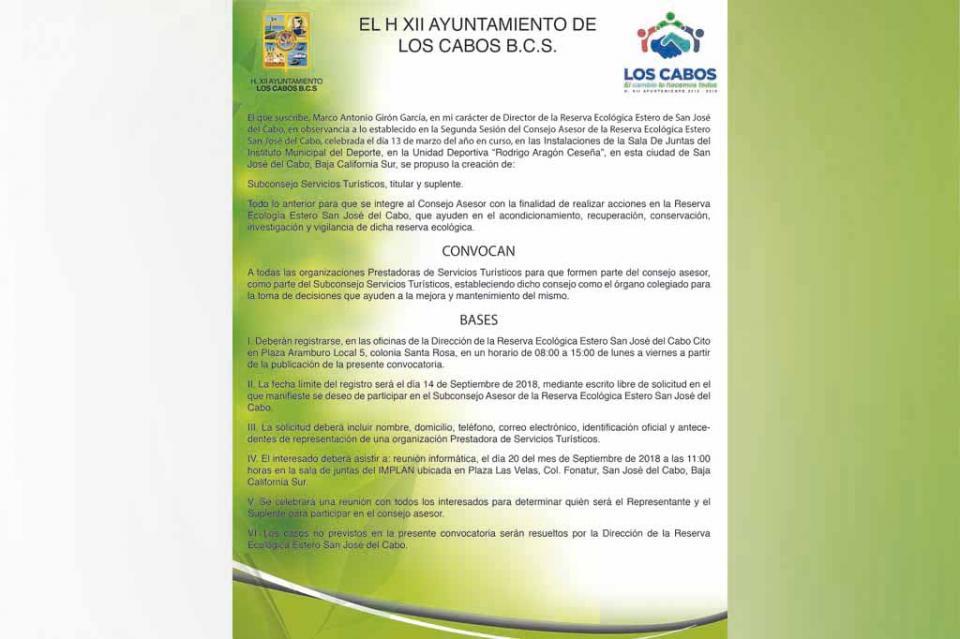 Se invita a prestadores de servicios turísticos, a formar parte del consejo asesor del Estero Josefino