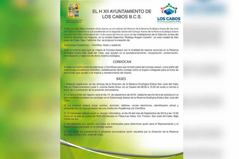 Se invita a instituciones académicas y científicas a ser parte del Consejo Asesor del Estero Josefino
