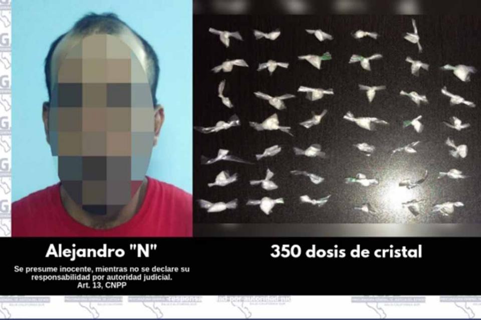 Asegura PGJE a 2 personas con mil 200 dosis de drogas en Santa Rosalía y CSL