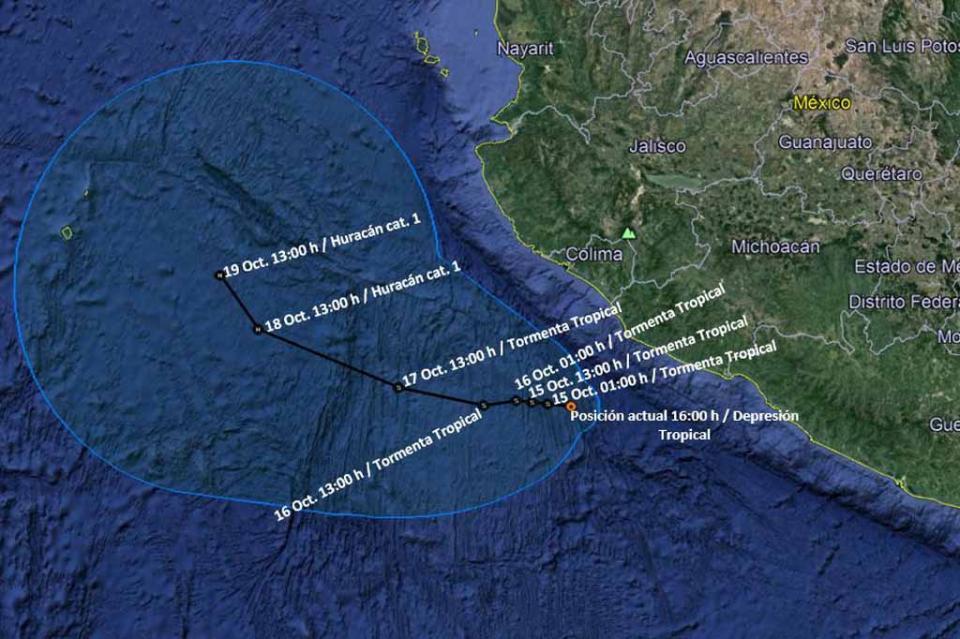 Se forma depresión tropical frente a costas de Michoacán y Colima