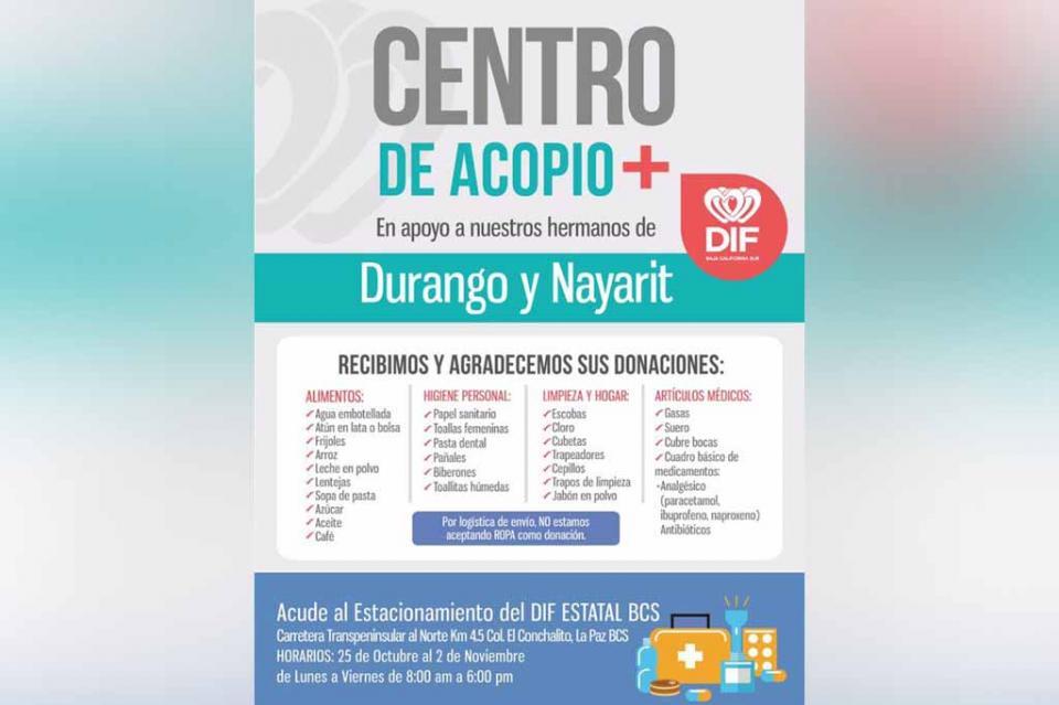Instala SEDIF centro de acopio para las familias afectadas por el Huracán Willa