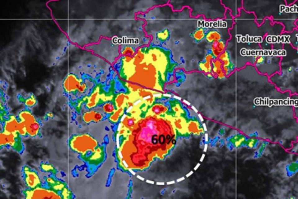 Zona de baja presión frente a las costas de Michoacán y Guerrero