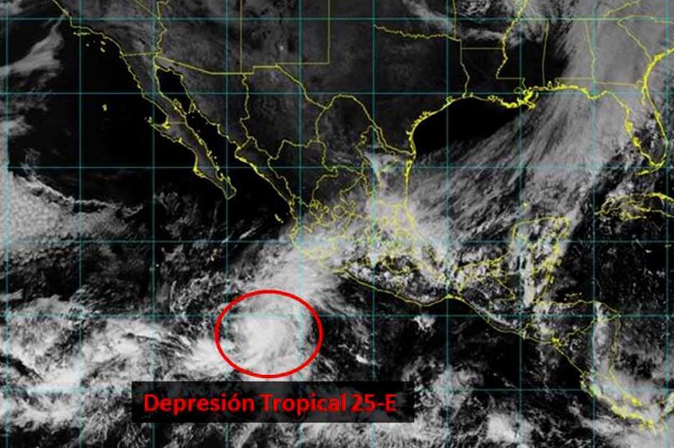 Se forma depresión tropical frente costas mexicanas en el Pacífico