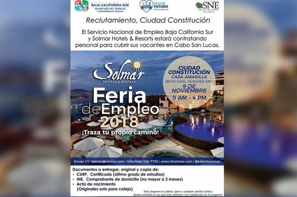 Se realizará Feria de Empleo para hoteles de Los Cabos, en Ciudad Constitución