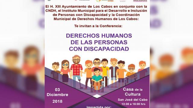 Impartirán conferencia Derechos Humanos de las Personas con Discapacidad