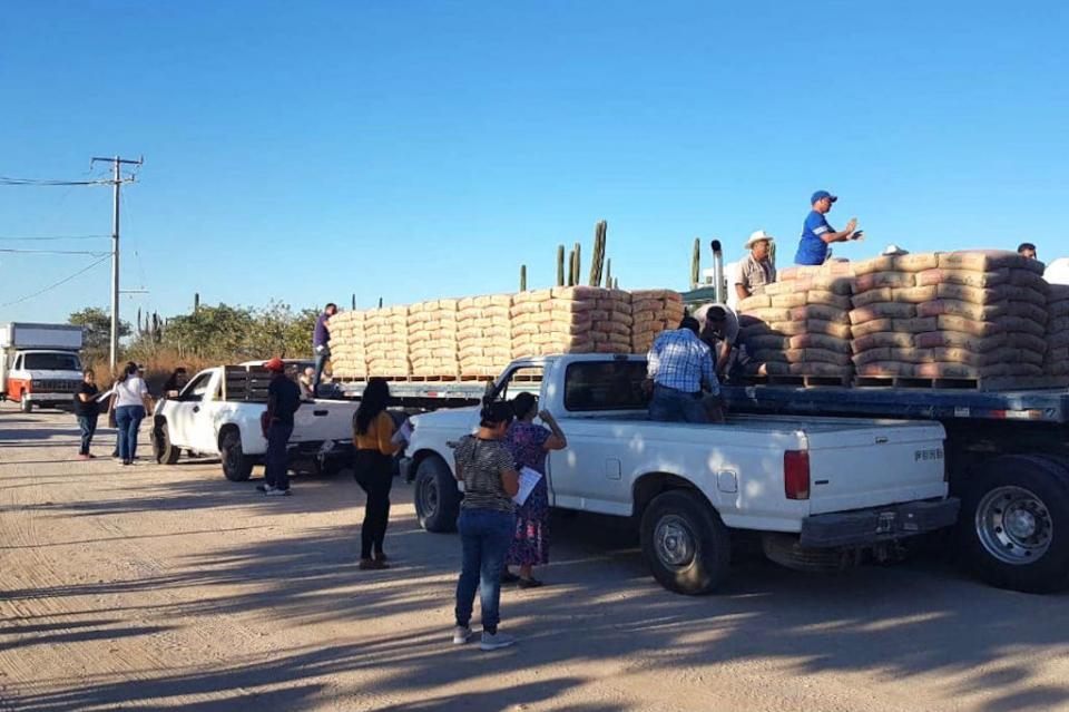 Llega la mano amiga y solidaria de la CROC a colonias de La Paz; entregan cemento a familias de Olas Altas