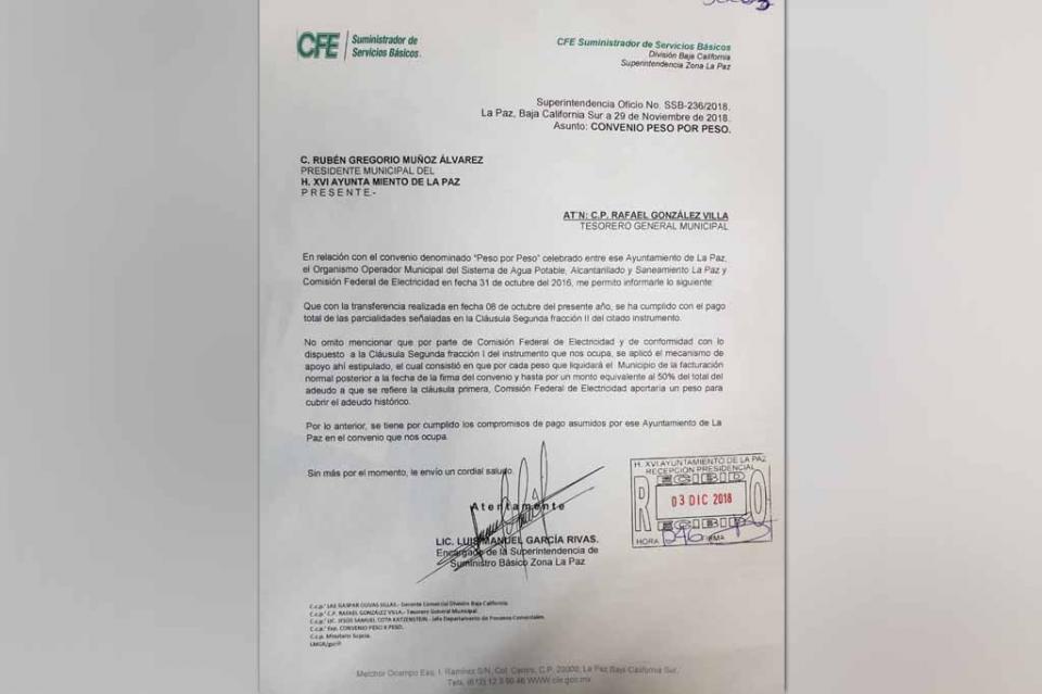 Salda deuda histórica el H. XVI Ayuntamiento con la CFE