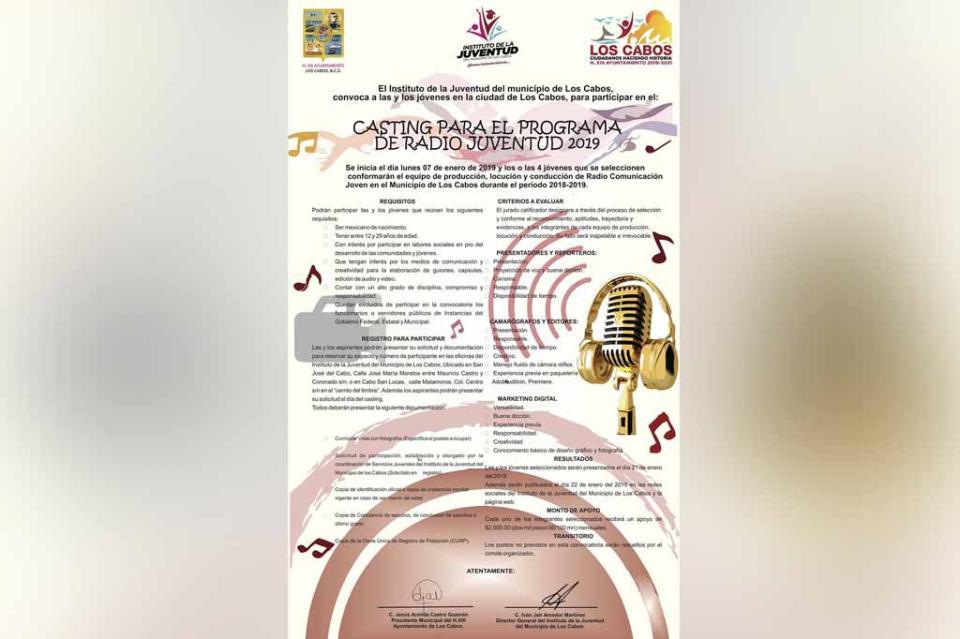 Participa en Casting para programa de Radio Juventud 2019