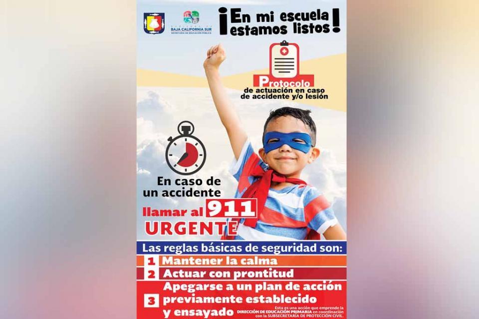 Implementa SEP protocolo de actuación en caso de accidentes escolares en BCS