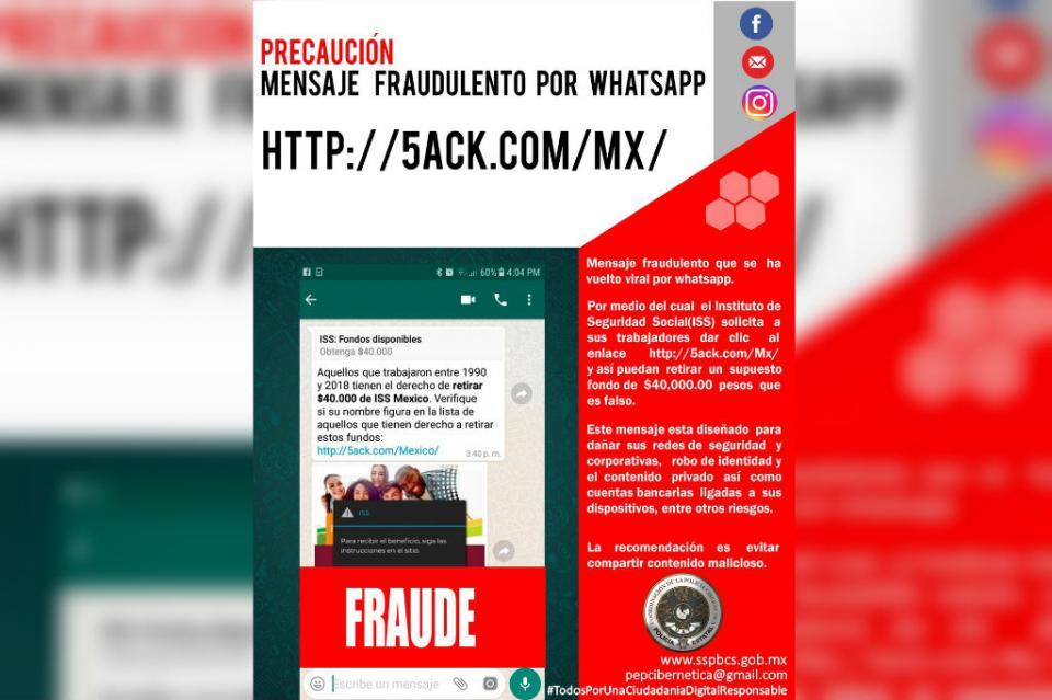 Advierte SSPE sobre mensaje malicioso de ISS que circula en Whatsapp